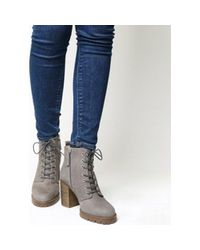 Office Gray Loose Lipped Lace Up Ankle Boots