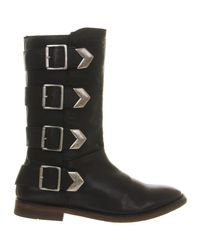 H by Hudson - Black Lock Tall Buckle Boots - Lyst