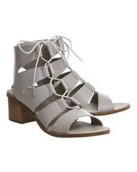 Office Gray Wisteria Lace Up Block Heels