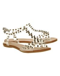 Jeffrey Campbell Metallic Puffer Sandal Clear Silver Spikes