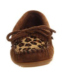 Minnetonka Brown Leopard Kiltie Moc