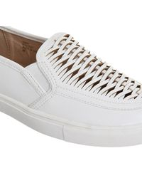 Office White Domino Woven Slip On Trainers