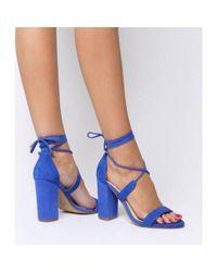 b63fcbf46845 Office Hopper Tie Up Block Heel in Blue - Lyst