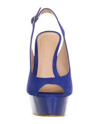 Office - Blue Jump Around Peep Toe Slingback - Lyst