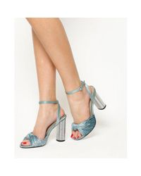 Office Blue Natural Velvet Knot Front Cylindrical Heel Sandal