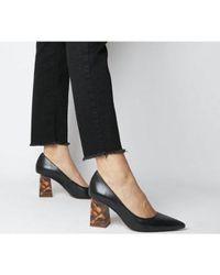 Office Black Minty- Feature Heel Court Shoe