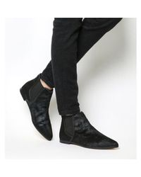 Office - Black Cat Pointy Flat Ankle Boots - Lyst