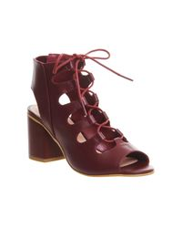 Office Red Waffle Lace Up Block Heels