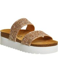Office Metallic Magnetic Double Strap Flatform Footbed