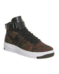 Nike Black Air Force 1 Mid Flyknit for men