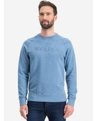 Woolrich Ronde Hals Trui 'wofel' Blauw Denim in het Blue voor heren