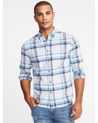 55d07452c86b3 Lyst - Old Navy Slim-fit Built-in Flex Everyday Oxford Shirt in Blue ...