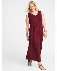 Old Navy Empire-waist Plus-size V-neck Maxi Dress in Red - Lyst