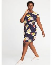 Old Navy Waist-defined Plus-size Dress in Navy Floral (Blue ...