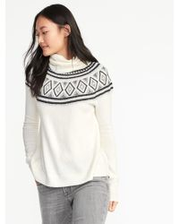 Old Navy - White Brushed-knit Turtleneck Sweater - Lyst