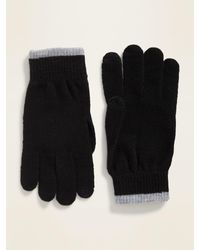 Old Navy Black Text-friendly Sweater-knit Gloves For Women