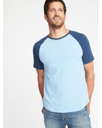 a458cba2 Lyst - Old Navy Color-block Raglan-sleeve Tee in Blue for Men