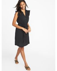 efc10c29b234 Lyst - Old Navy Ruffle-trim Tie-belt Shirt Dress in Black