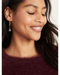 Old Navy Metallic Gold-toned Star-pendant Hoop Earrings For Women