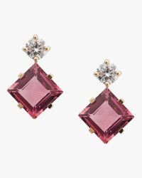 Yi Collection Multicolor Pink Tourmaline And Diamond Earrings