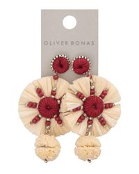 Oliver Bonas Multicolor Novak White Raffia & Beaded Disk Statement Earrings