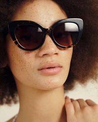 Oliver Bonas Brown Rio Cat Eye Tortoise Shell Sunglasses