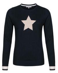 Oliver Bonas Blue Navy Star Intarsia Knit Jumper