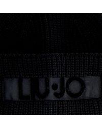 Liu Jo Zwarte Muts Cuffia Logo Punto Tappeto in het Black
