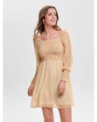 ONLY White Kariertes Kleid Mit Langen Ärmeln