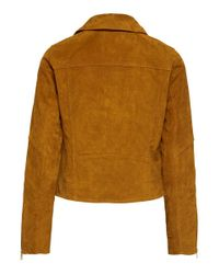 ONLY Orange Leder Biker Jacke