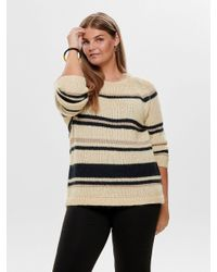 ONLY Gray Gestreifter Curvy Strickpullover
