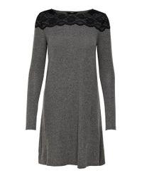 ONLY Gray Detailreiches Kleid Mit Langen Ärmeln