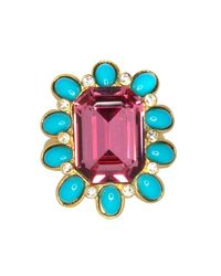 Kenneth Jay Lane - Multicolor Crystal & Turquoise Oval Ring - Lyst
