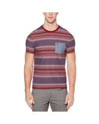 Original Penguin - Red Ombre Stripe Pocket Tee for Men - Lyst
