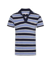 Orlebar Brown Blue Slim-fit Striped Cotton-terry Polo Shirt for men