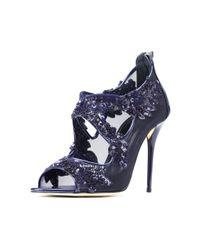 Oscar de la Renta - Blue Midnight Lace & Patent Ambria Platform Sandals - Lyst