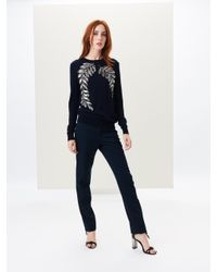 Oscar de la Renta - Blue Fern Embroidered Wool Pullover - Lyst