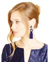Oscar de la Renta - Marine Blue Short Silk Tassel Earrings - Lyst