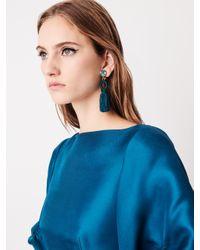 Oscar de la Renta - Multicolor Peacock Short Silk Tassel Earrings - Lyst