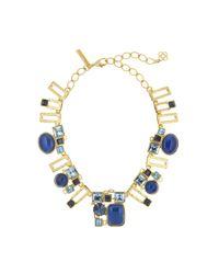 Oscar de la Renta - Blue Geometric Resin And Crystal Necklace - Lyst