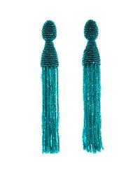 Oscar de la Renta | Green Emerald Long Tassel Earrings | Lyst