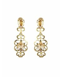 Oscar de la Renta | Metallic Bold Swarovski Crystal Filigree Earrings | Lyst