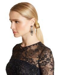 Oscar de la Renta - Metallic Swarovski Crystal Floral Navette Drop Earrings - Lyst