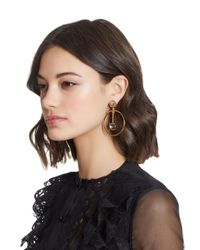 Oscar de la Renta - Multicolor Crystal Drop Hoop Earrings - Lyst