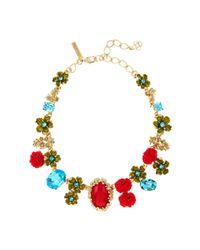 Oscar de la Renta | Red Resin & Crystal Bouquet Necklace | Lyst