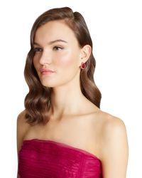 Oscar de la Renta - Pink Radiant Crystal Button Earrings - Lyst