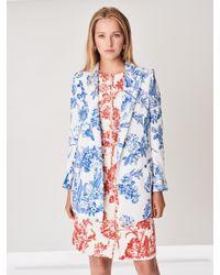 Oscar de la Renta - Blue Floral Toile Stretch-silk Georgette Double-breasted Blazer - Lyst