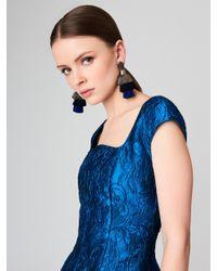 Oscar de la Renta - Blue Gold Long Silk Tiered Tassel Earrings - Lyst