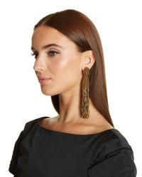 Oscar de la Renta - Metallic Gold Long Beaded Tassel With Tube Earrings - Lyst