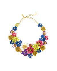 Oscar de la Renta | Blue Large Painted Floral Necklace | Lyst